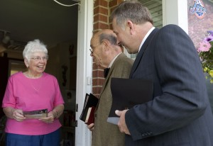 Not staged: old woman happy to see Jehovah's Witnesses