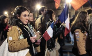French Jews demonstrate, holding the Tricolore